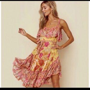 Spell Siren Song Strappy Dress in Marigold